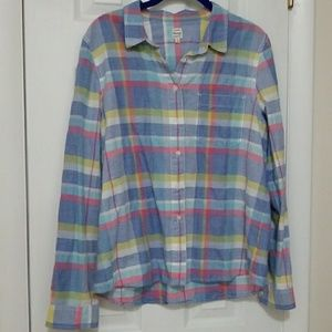Madewell pastel plaid button down top